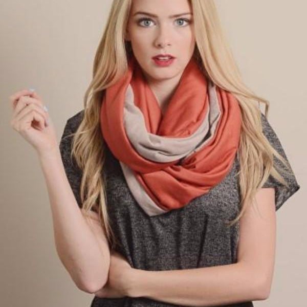 Nursing Jersey Infinity Scarf - Coral - Bean Concept