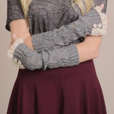 Gray Cozy Lace Hand Warmers Gloves - Bean Concept