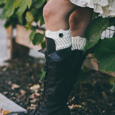 Knitted Boot Cuffs with Buttons - Bean Concept