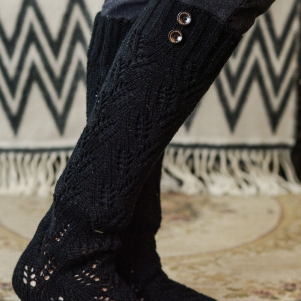 Cozy Black Leg Warmers with Buttons - Bean Concept