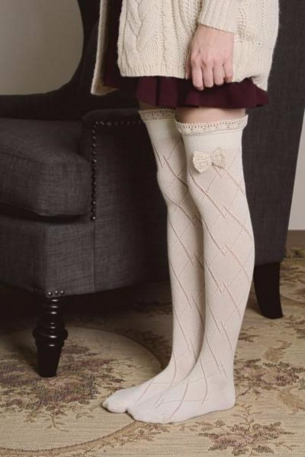 Knitted Leg Warmers with Lace Trim and Bow - Bean Concept - Etsy