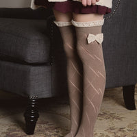 Knitted Leg Warmers with Lace Trim and Bow