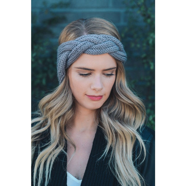 GRAY CABLE HEADBAND