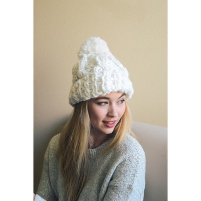 OATMEAL POM POM WINTER HAT