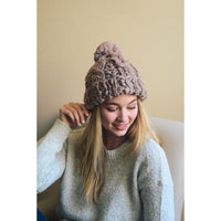 MOCHA BROWN POM POM WINTER HAT