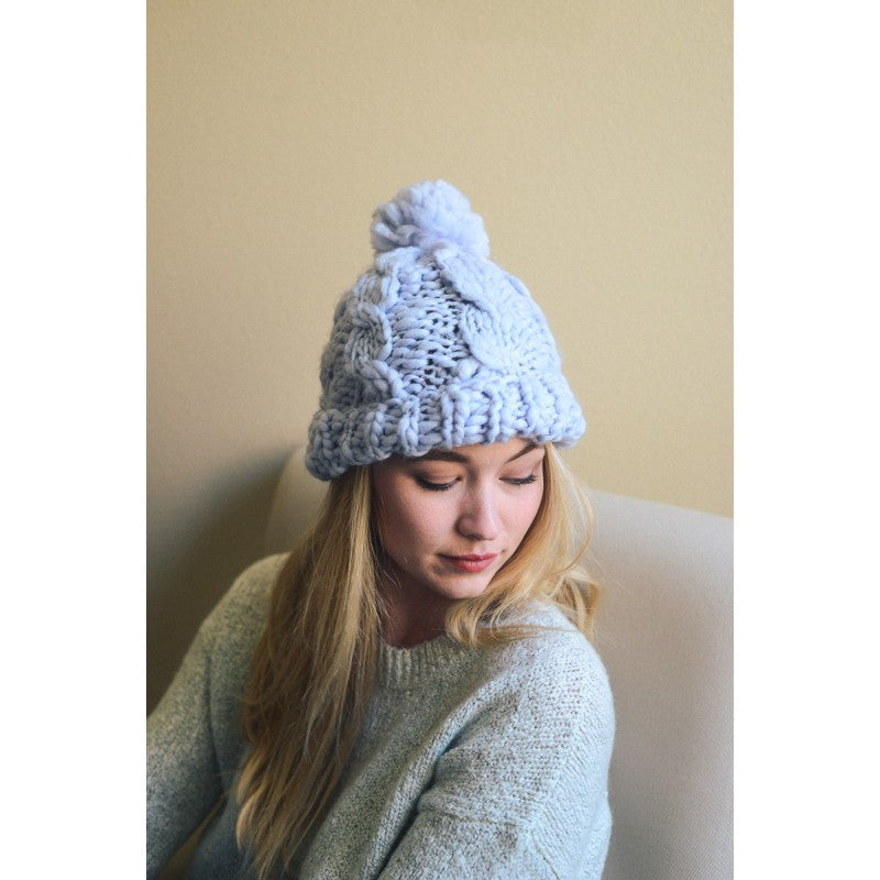 068b37d5f02 Blue Pom Pom Cable Knit Hat - Bean Concept - Etsy