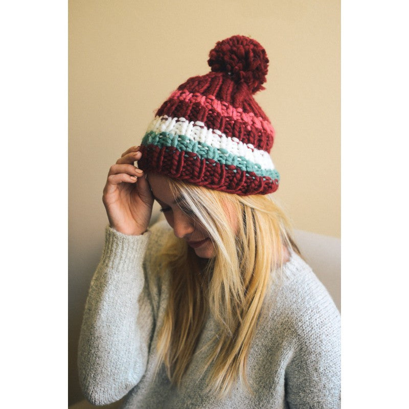 RED COLORBLOCK WINTER BEANIE - Bean Concept - Etsy