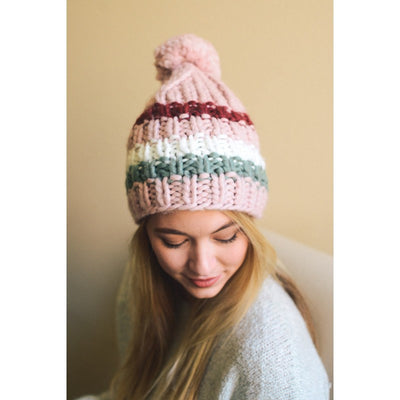PINK COLORBLOCK POM POM BEANIE - Bean Concept - Etsy