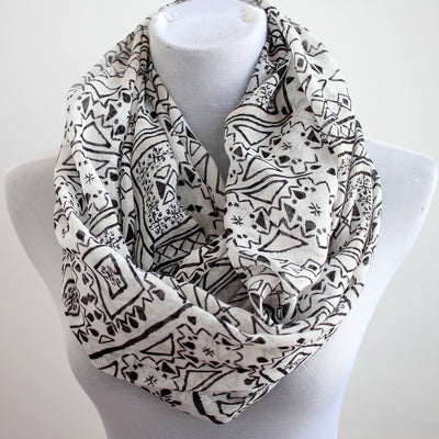 Black and White Aztec Infinity Scarf - Bean Concept - Etsy