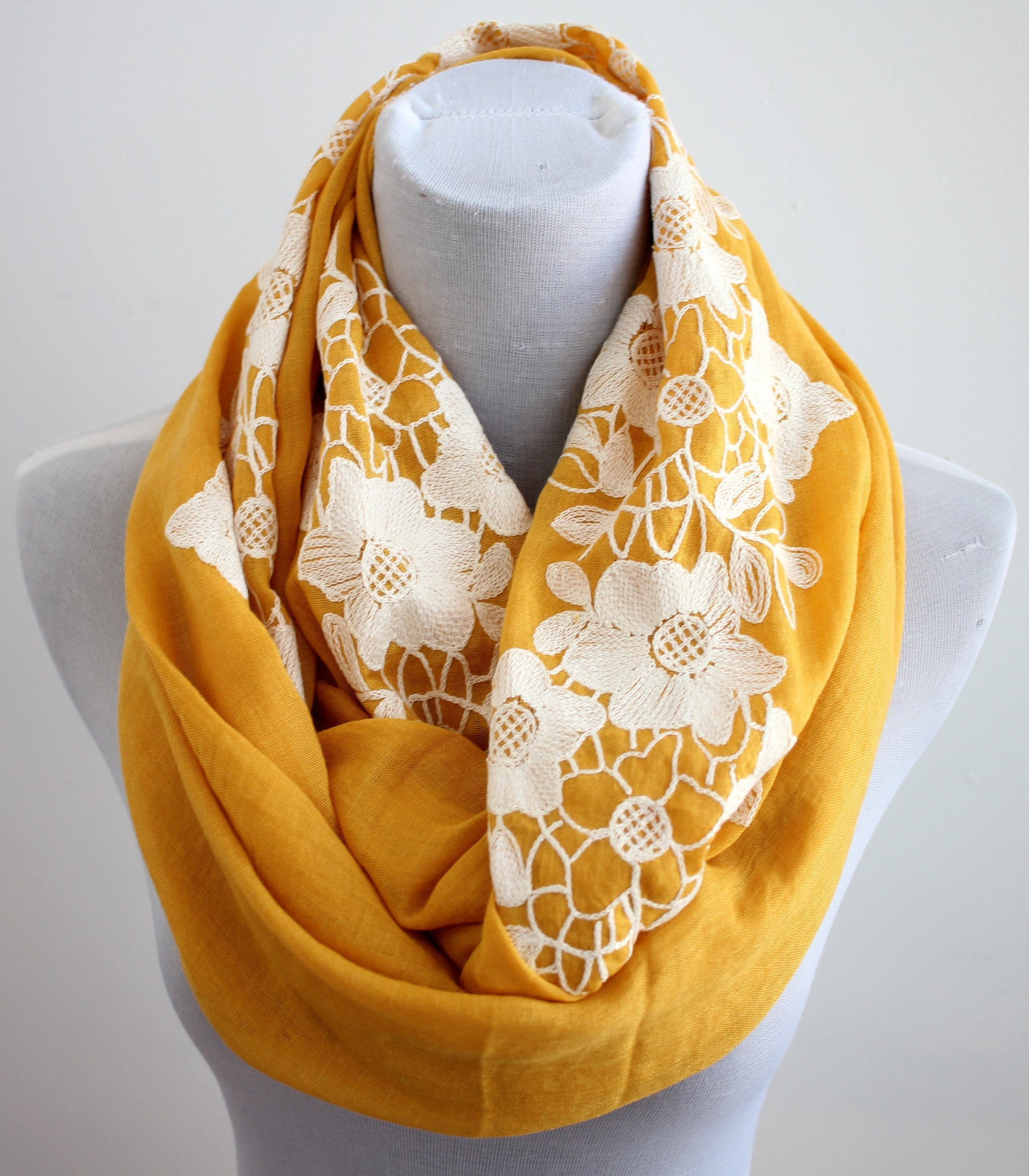 MUSTARD YELLOW FLORAL EMBROIDERY INFINITY SCARF - Bean Concept - Etsy