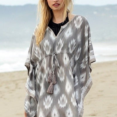 Gray Pattern Beach Cover Up - Bean Concept - Etsy