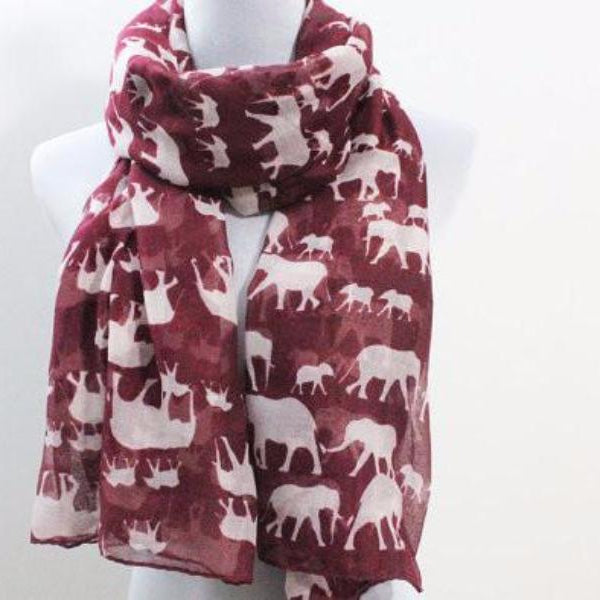Elephant Scarf - Red - Bean Concept