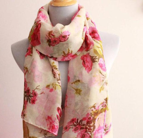 Roses Spring Scarf - Beige - Bean Concept