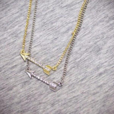 Crystal Arrow Necklace in Gold or Silver - Bean Concept
