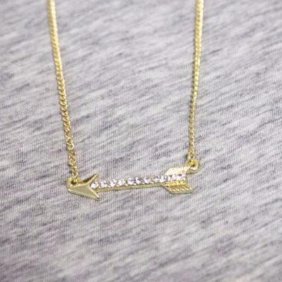 Crystal Arrow Necklace in Gold or Silver - Bean Concept - Etsy