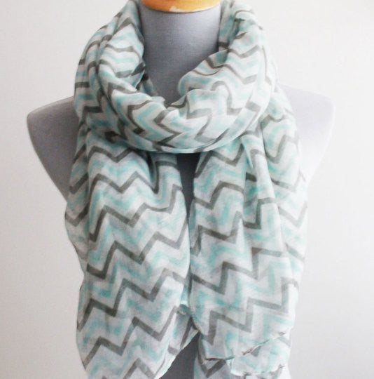 Mint and Gray Chevron Scarf - Bean Concept - Etsy