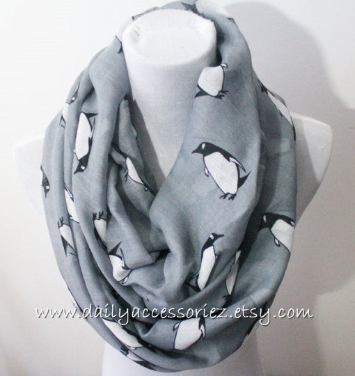 Gray Penguin Infinity Scarf - Bean Concept - Etsy