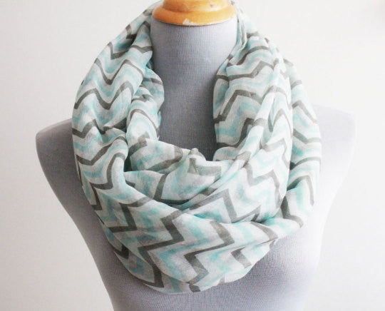 Mint and Gray Chevron Infinity Scarf - Bean Concept - Etsy