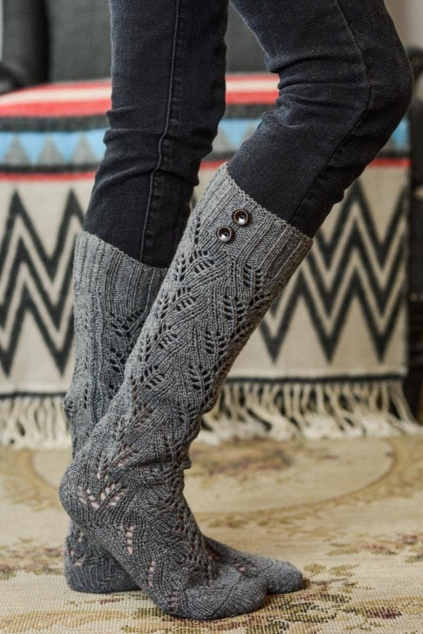 Brown Knitted Buttoned Leg Warmers - Bean Concept - Etsy