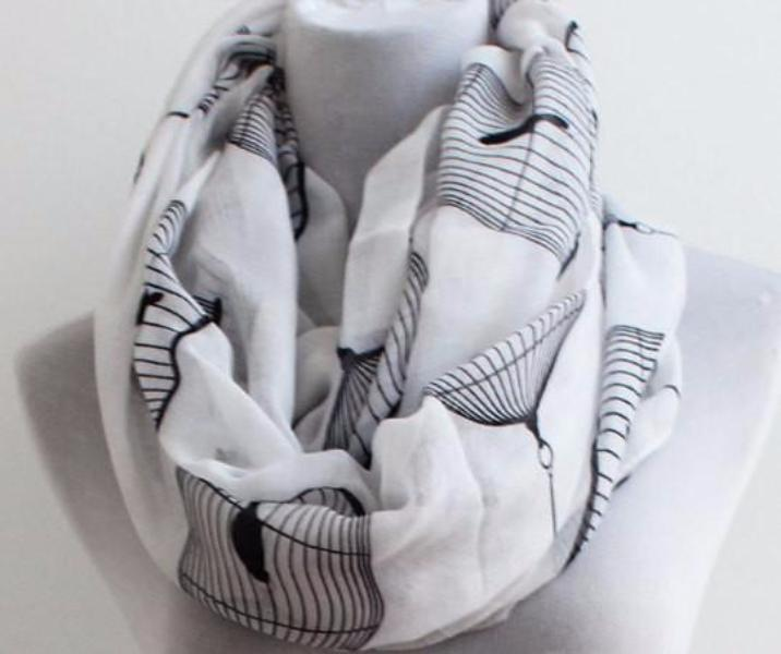 White Bird Cage Infinity Scarf - Bean Concept - Etsy