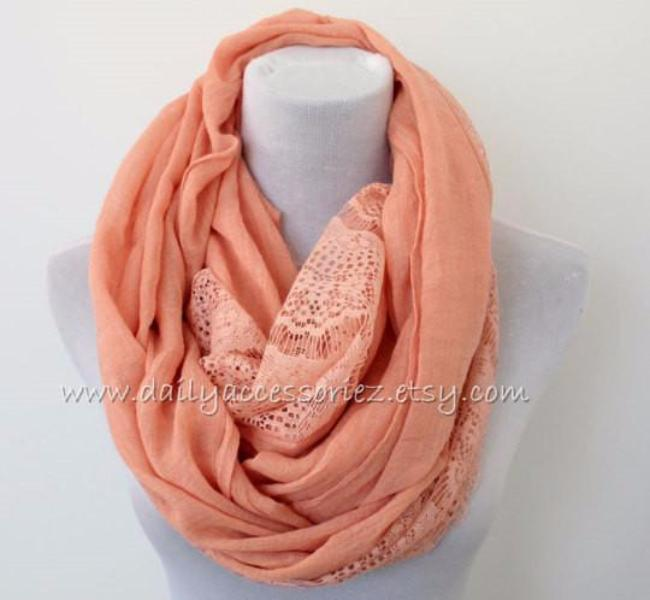 Large Coral Pink Lace Infinity Scarf - Bean Concept - Etsy
