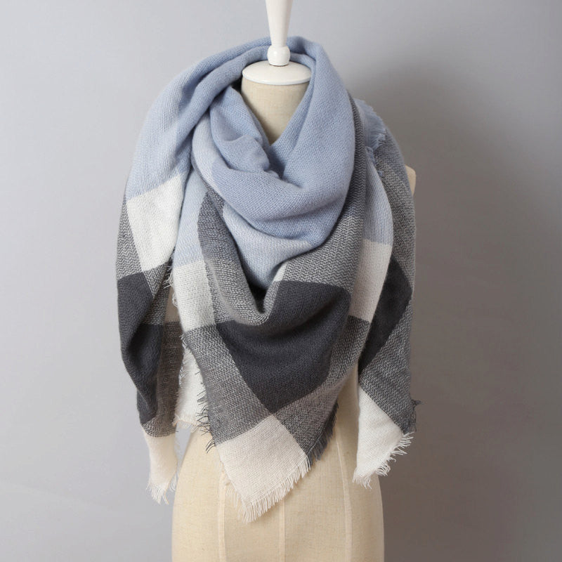 Gray Blue Plaid Blanket Scarf - Bean Concept - Etsy