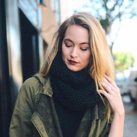 Black Knit Infinity Scarf - Bean Concept - Etsy