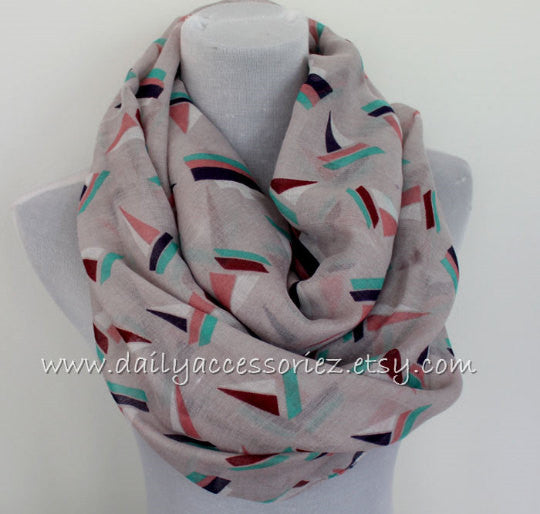 Gray Sailboat Scarf - Bean Concept - Etsy
