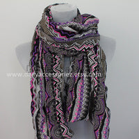 Purple Aztec Colorblock Scarf - Bean Concept - Etsy