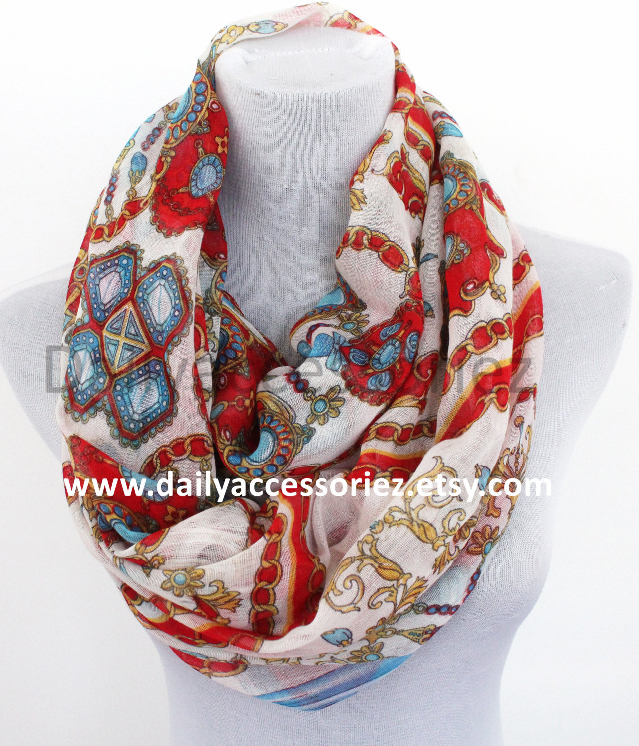 Red Crystal Print Infinity Scarf - Bean Concept - Etsy