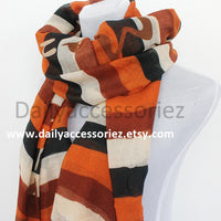 Brown Colorblock Scarf - Bean Concept - Etsy