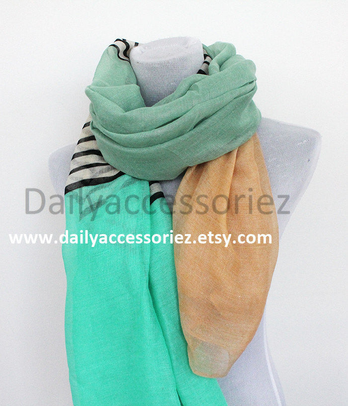 Mint Green Colorblock Scarf - Bean Concept - Etsy