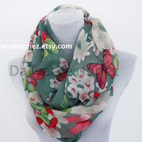 Butterfly with Flowers Infinity Scarf - Bean Concept - Etsy
