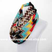 Aztec Colorblock Infinity Scarf - Bean Concept - Etsy
