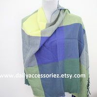 Blue Color Block with Tassels Scarf - Bean Concept - Etsy