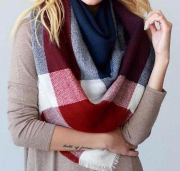 Red and Navy Blanket Scarf - Bean Concept - Etsy