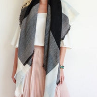 Gray Blanket Scarf - Bean Concept - Etsy