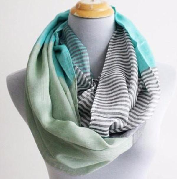 Mint Green and Gray Infinity Scarf - Bean Concept - Etsy