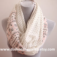 White Aztec Infinity Scarf - Bean Concept - Etsy