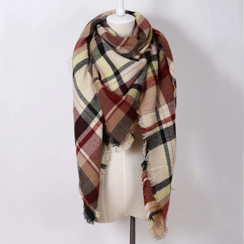 Gray and Brown Plaid Blanket Scarf - Bean Concept - Etsy