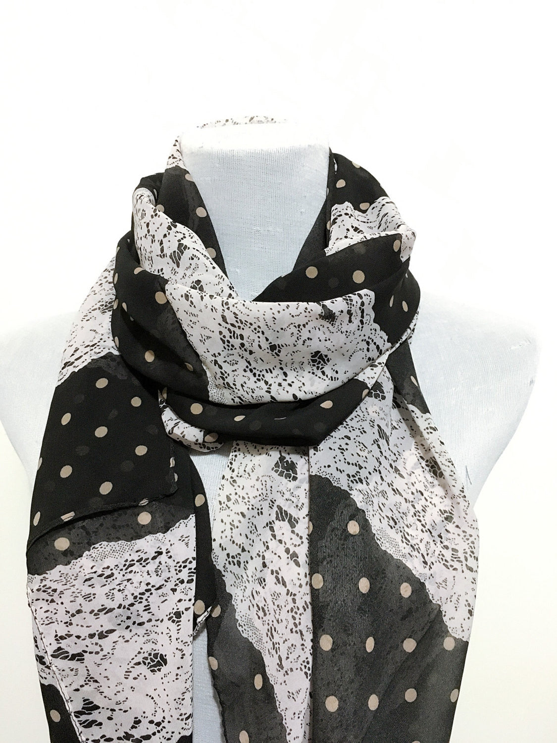 Black Polka Dot and Lace Scarf - Bean Concept - Etsy