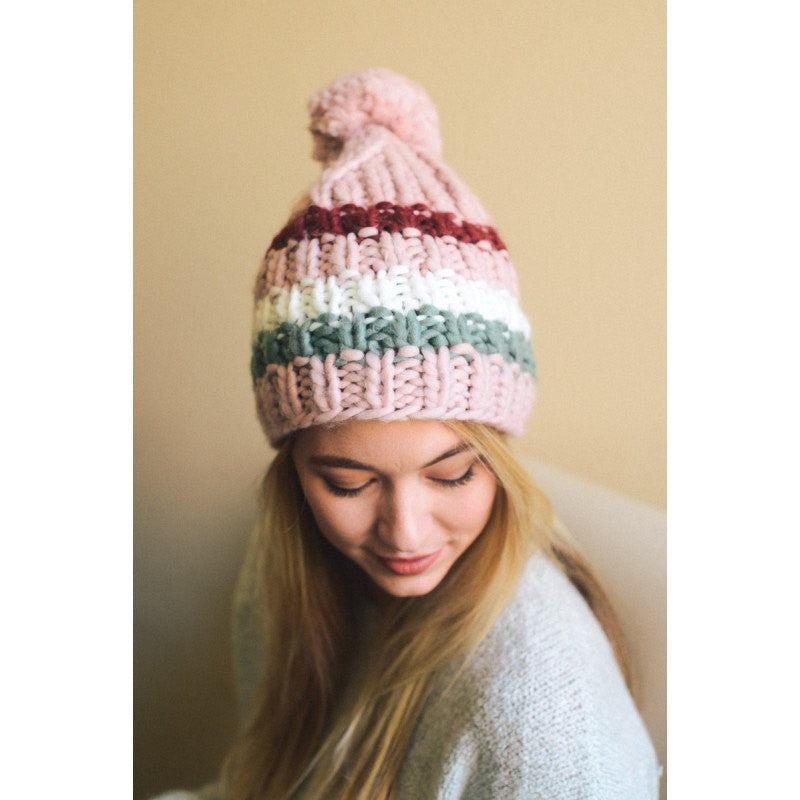Pink Beanie with Pom Pom Ball - Bean Concept - Etsy