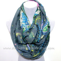 Gray Flower Infinity Scarf - Bean Concept - Etsy