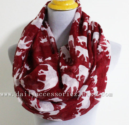 Red Elephant Infinity Scarf - Bean Concept - Etsy