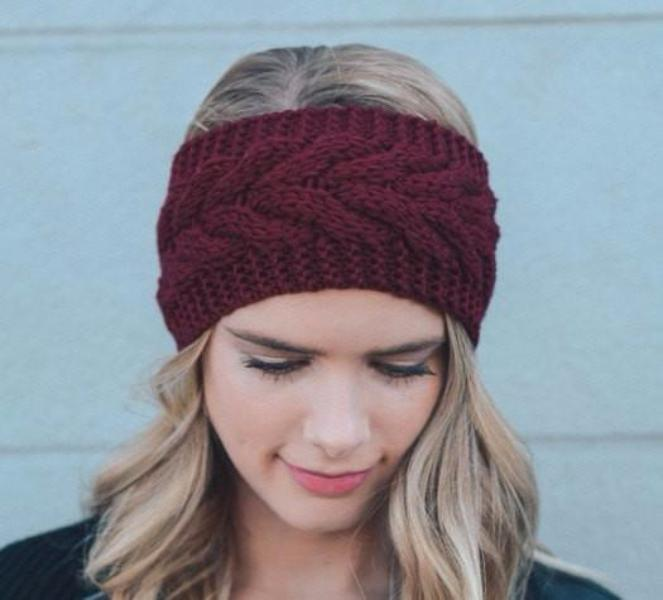 Burgundy Red Knitted Headband - Bean Concept - Etsy