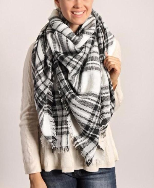Black and White Plaid Blanket Scarf - Bean Concept - Etsy
