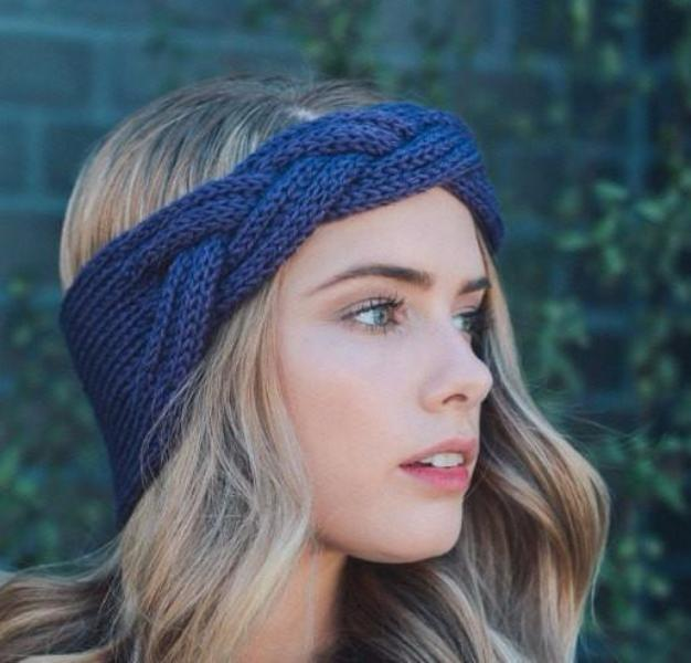 Purple Knitted Headband - Bean Concept - Etsy