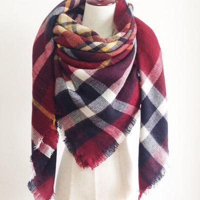 Red Plaid Tartan Blanket Scarf - Bean Concept - Etsy