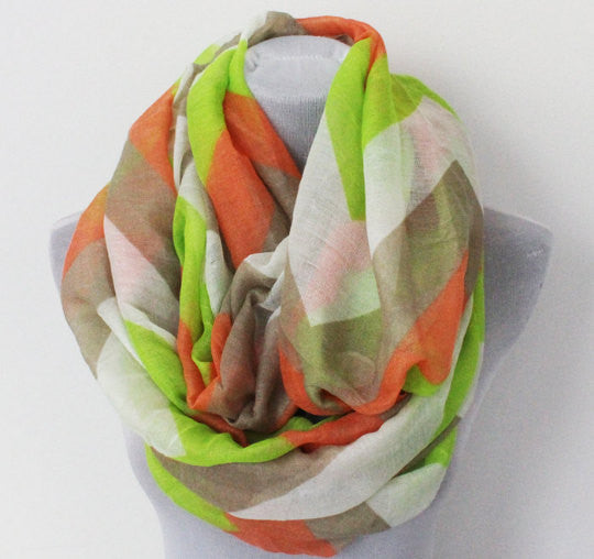 Large Green and Orange Chevron Infinity Scarf - Bean Concept - Etsy