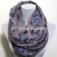 Purple Bird and Flower Infinity Scarf - Bean Concept - Etsy